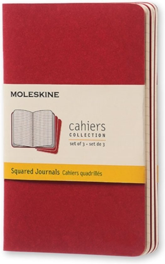 Moleskine Set of 3 Squared Cahier Journals Red Pocket