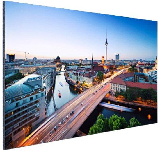 Berlijn stadslandschap met tv-toren Aluminium 120x80 cm - Foto print op Aluminium (metaal wanddecoratie)