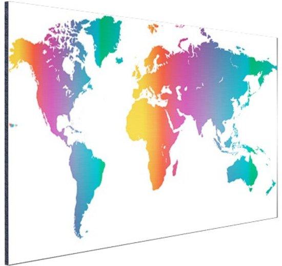 Wereldkaart felgekleurd Aluminium 90x60