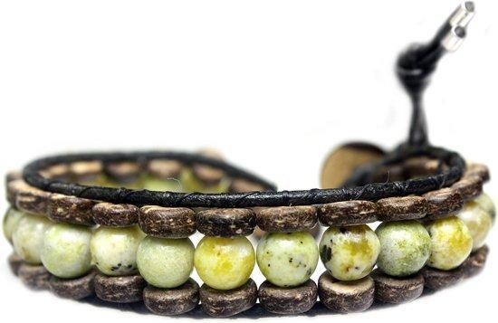 Bela Donaco Armband Classic B8 – Geel – Gele Turquoise – kokos – leer
