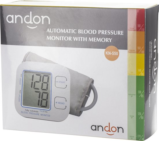 ANDON KN-550 Automatische bloeddrukmeter met geheugen en bloeddrukmanchet, wit / grijs