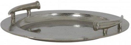 Schaal dienblad metaal hendels zilver ruw nikkel rond 41cm