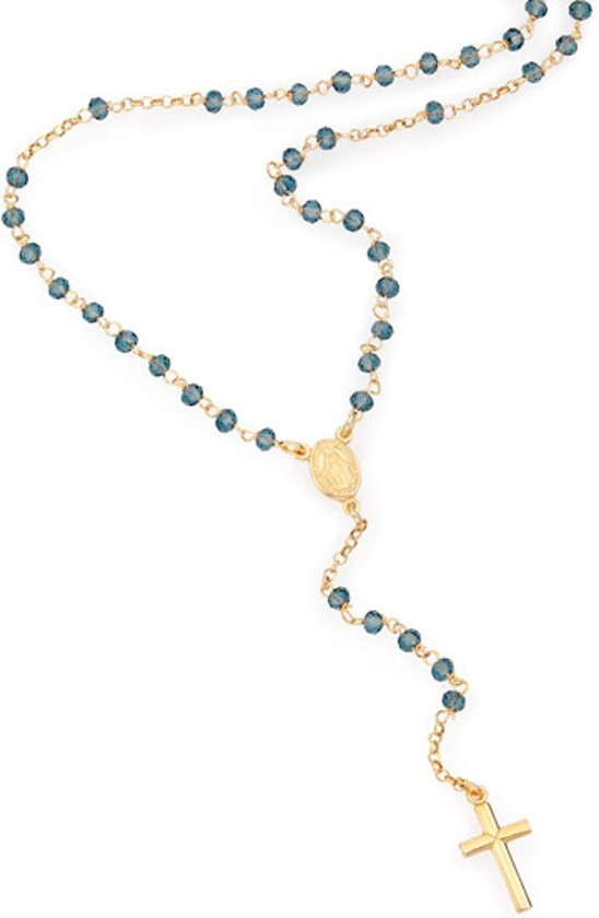Amen Rosary Classic Blue Crystal Gold