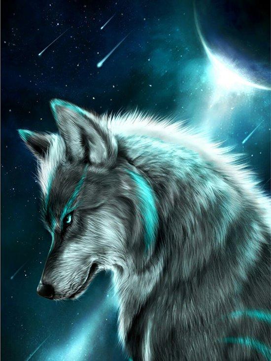 Diamond Painting Pakket Wolf in Maanlicht - Volledig - Full - 30x25 cm - SEOS Shop ®