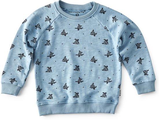6e6971f9bf6 raglan sweater jongens - blue turtle AOP