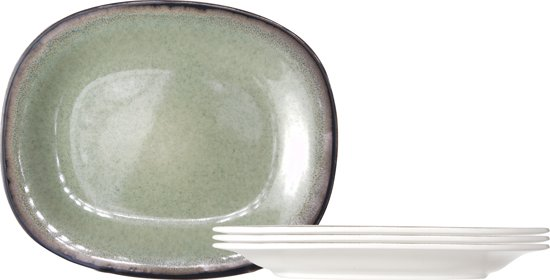 Cosy & Trendy Fez Green Plat Bord - Ovaal - 4 Stuks