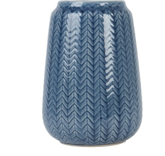 Vase Knitted medium ceramic dark blue
