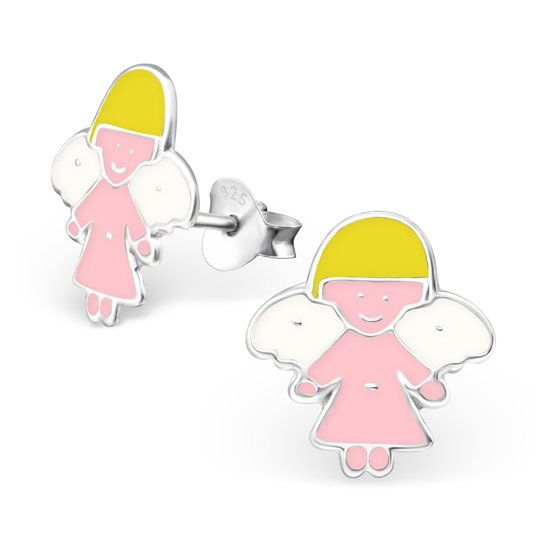 Princes Oorbellen Angel Pink - Meisjes - 925 Zilver - Epoxy - Engel - 10 x 10 mm