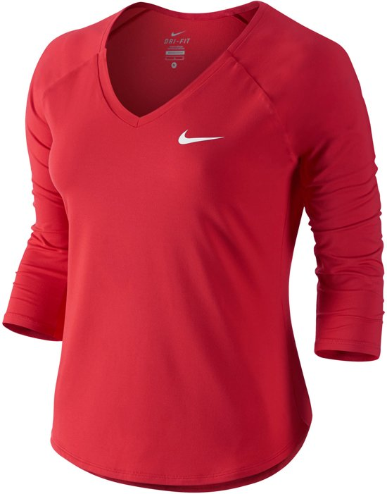 70c411e0ac6 Nike Pure Tennis 3/4 Top Dames Sportshirt - Maat S - Vrouwen - rood