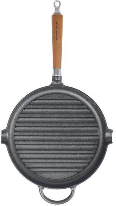 Ronde gietijzeren grillpan met houten handvat - 28cm - Ronneby Bruk