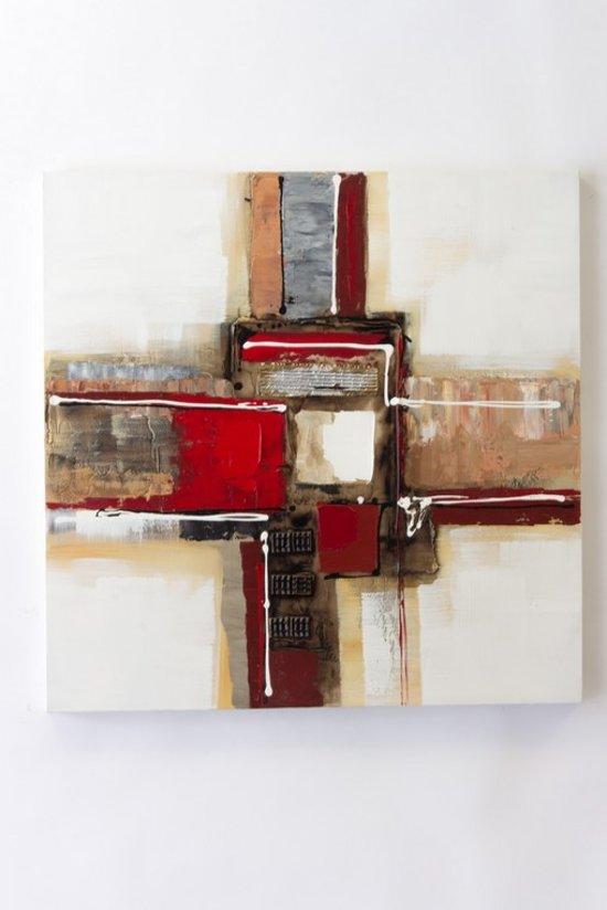 """olieverfschilderij op doek 40 bij 40 cm. """"meerkleurig kruis"""" Abstract."""