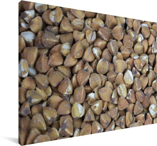 Donkere foto van boekweit korrels op een hoopje Canvas 120x80 cm - Foto print op Canvas schilderij (Wanddecoratie woonkamer / slaapkamer)