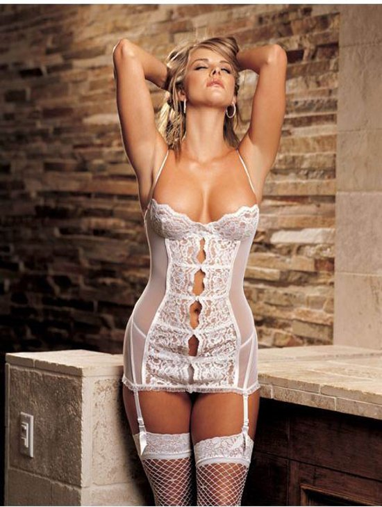 sexy witte onderjurk, opwindende lingerieset met jartellen