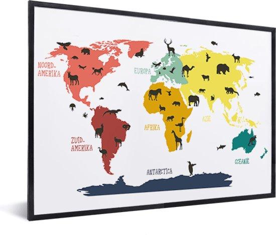 Wereldkaart Kinder kamer Schilderij Dieren in lijst zwart 60x40 cm