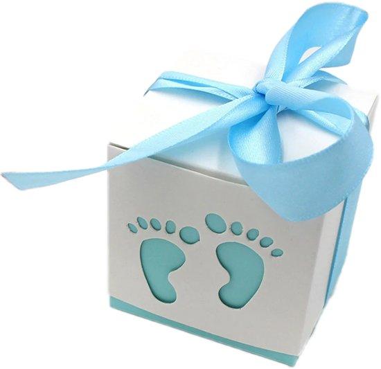 Geschenkdoosjes set van 5 | blauwe voetjes | babyshower | kraamgeschenk | traktatie | doopsuiker