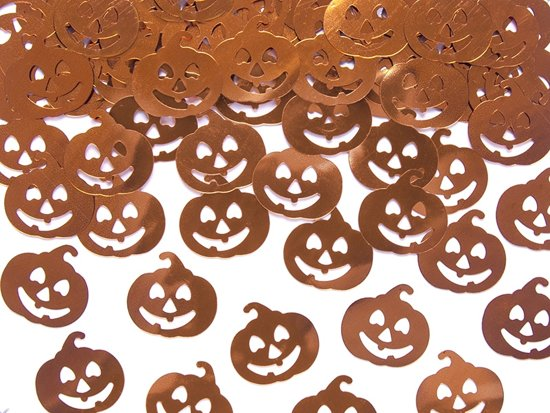 Halloween Confetti Pompoen 2x2cm 15 gram