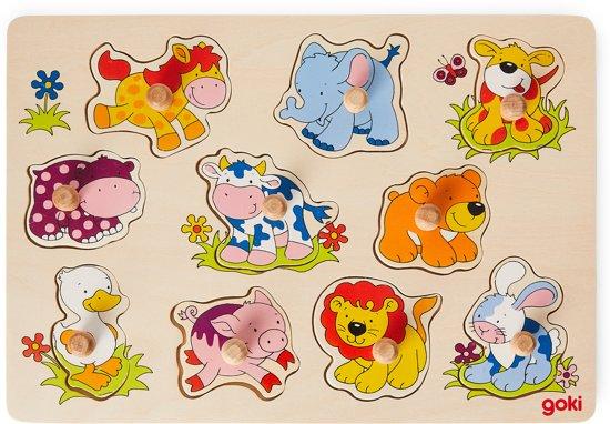 Goki 10-delige puzzel dierenbabies