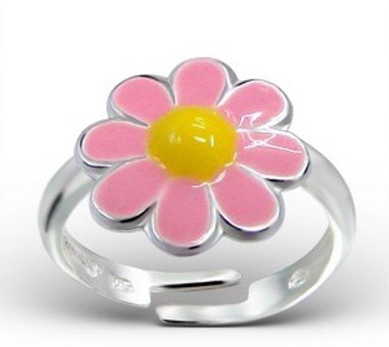 Little Bijoux verstelbare kinderring-bloem geel roze
