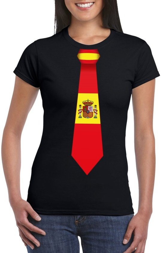 Zwart t-shirt met Spanje vlag stropdas dames 2XL