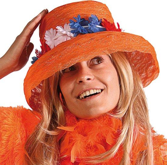 Organza Oranje hoed met Bloemen