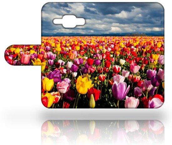 Samsung Galaxy J1 2015 Uniek Hoesje met Opbergvakjes Tulpen