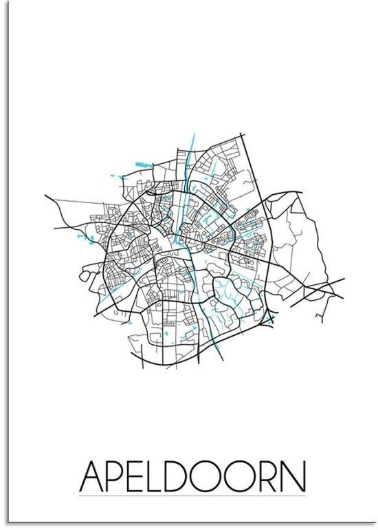 Plattegrond Apeldoorn Stadskaart poster DesignClaud - Wit - A4 poster