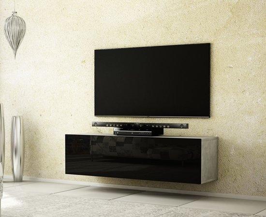 Az Home Tv Meubel Tv Kast Hardy 140 Cm Betonlook Hoogglans Zwart