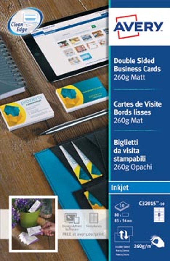 Avery C32015 10 Dubbelzijdige Business Cards 1 Vel A 8 Card Voor Inktjetprinters 260gr M2
