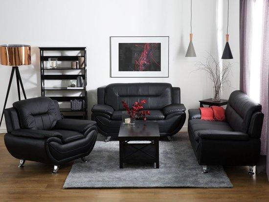 Beliani Leira 3-Zits bank Zwart Kunstleer