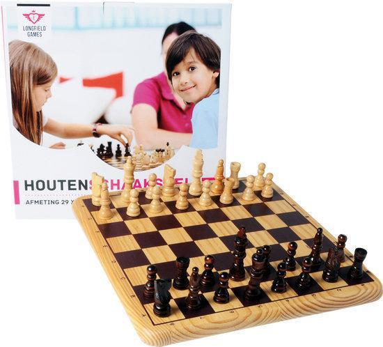 Houten schaakset 30 cm