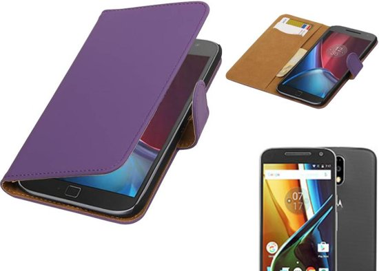 Bookstyle Hoes voor Moto G4 / G4 Plus Paars in Hersend