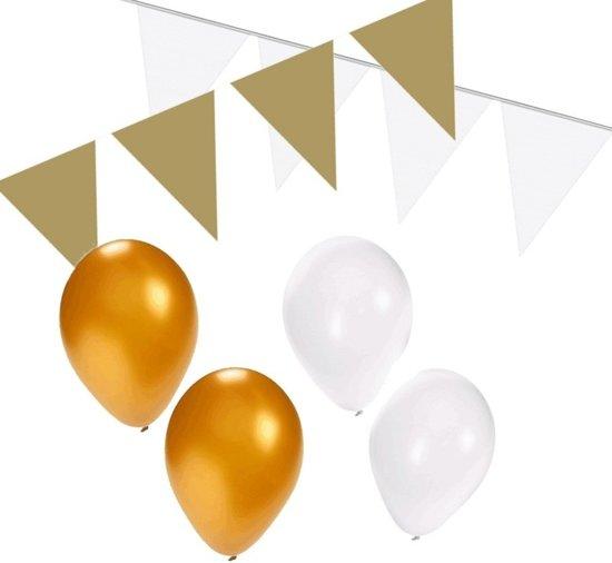 Wit / goud versiering pakket - slingers en ballonnen