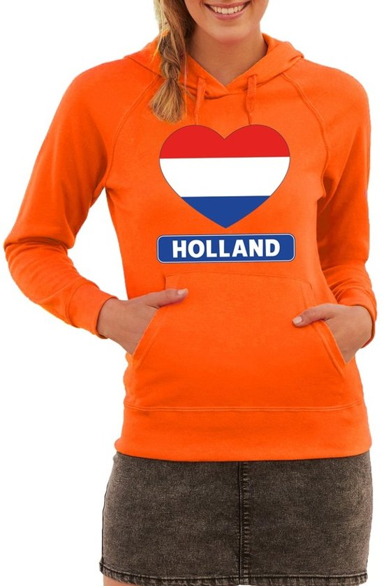 Oranje Holland hart vlag hoodie dames M (38)