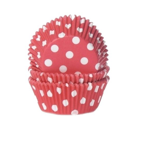 House of Marie Cupcake Vormpjes Stip Rood - pk/50 Valentinaa
