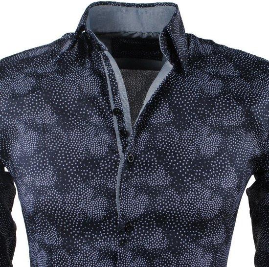 Overhemd Zwart Stretch MontazinniHeren Overhemd Gestippeld MontazinniHeren Gestippeld shCrdQtx