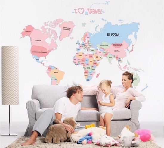 bolcom muursticker wereldkaart kleur voor woonkamer