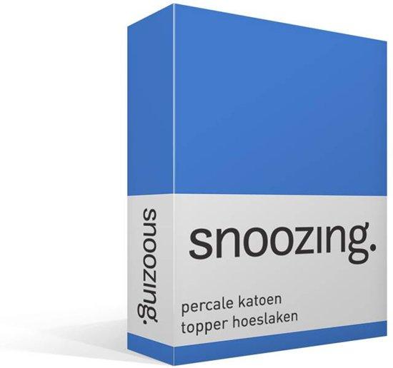 Snoozing - Topper - Hoeslaken - Percale katoen - Eenpersoons - 80x200 cm - Percale katoen - Meermin