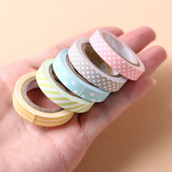 5x Washi Tape Strepen Stippen - 5 soorten - Gekleurde Decoratie Masking Plakband Afplak Tape Stickers Assortiment
