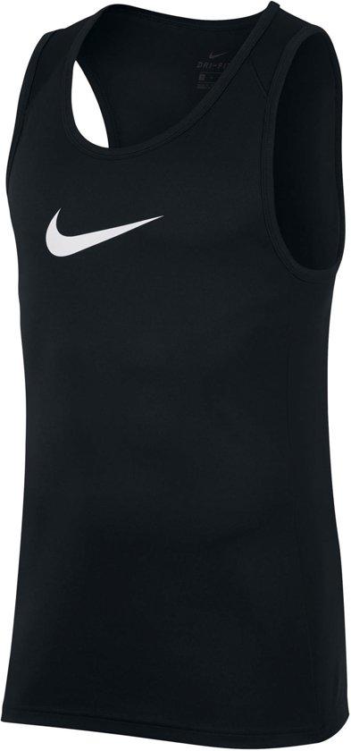 Nike Dry Sleeveless Crossover Sportshirt performance - Maat L  - Mannen - zwart/wit