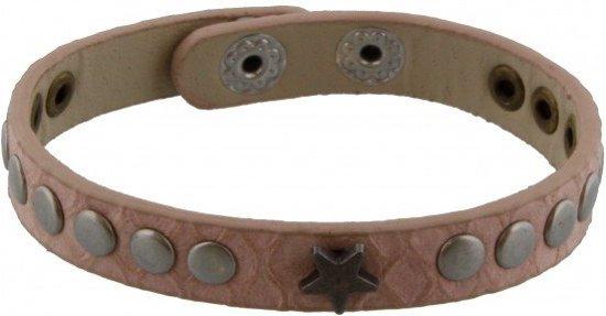 Roze Lederen Armband met Ster en Studs
