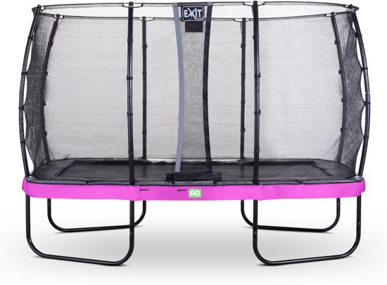 EXIT Elegant trampoline 244x427cm met veiligheidsnet Economy - paars