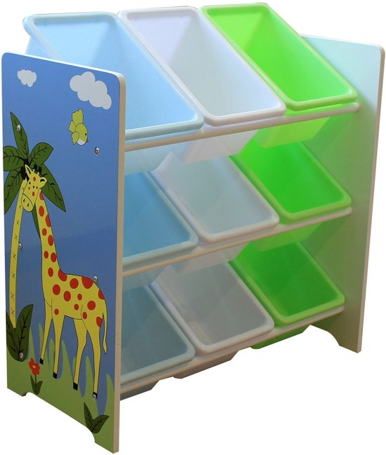Opbergkast Met Plastic Bakken.Bol Com Blinq Safari Opbergkast 9 Plastic Bakken Hout