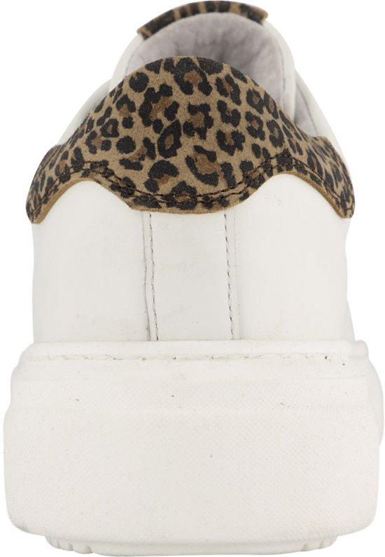 5th Avenue Dames Witte Leren Sneaker Panterprint