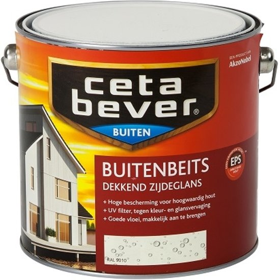 Fabulous bol.com | Cetabever Dekkende Buitenbeits - 2,5 liter - Wit (RAL 9010) NF42