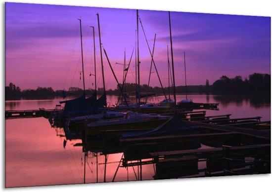 Canvas schilderij Boot | Paars, Zwart, Blauw | 120x70cm 1Luik