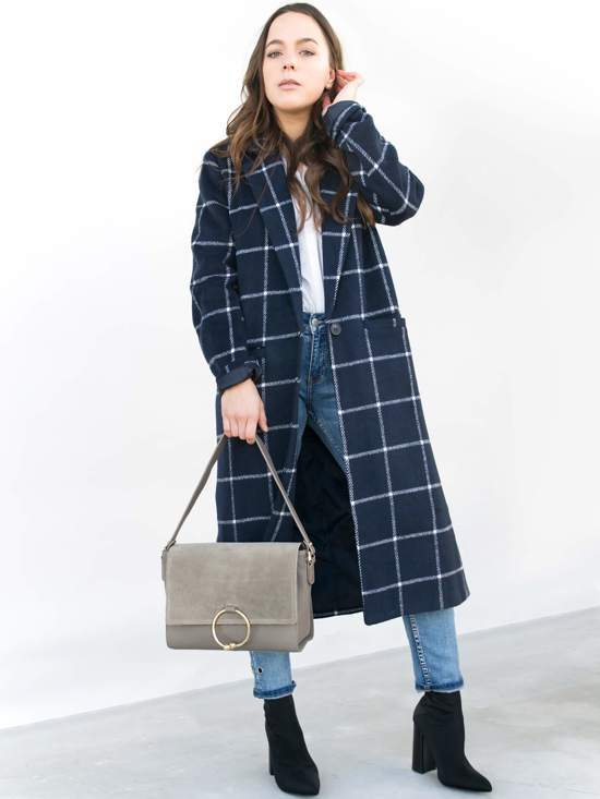 Bag Ring Taupe Shoulder Leather Flap lcTKF1J