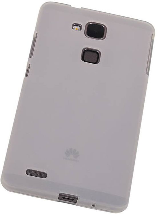 Huawei Ascend Mate 7 - TPU Hoesje Transparant Wit - Back Case Bumper Hoes Cover