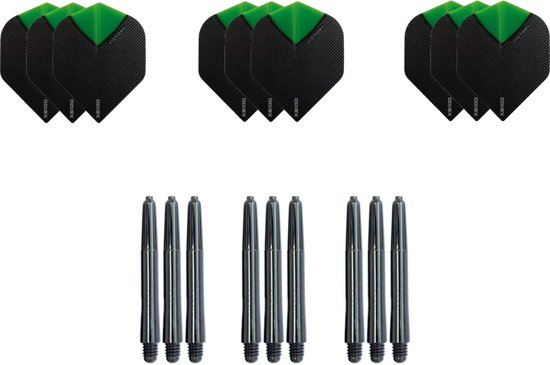 9 Skylight Groen Super stevige - flights - plus 9 zwarte nylon - shafts -