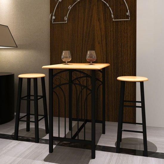 vidaXL - Set tafel en stoelen Bar met barkrukken (2 stuks)