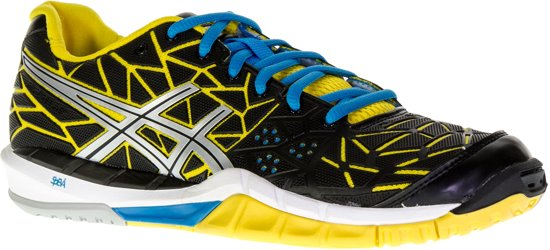 Asics Gel-Fireblast Indoorschoenen Dames Sportschoenen - Maat 40 - Vrouwen - zwart/geel/blauw